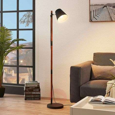 Floor lamp Birte, black with wooden element