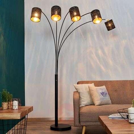 Floor lamp Jules, black and gold, five-bulb