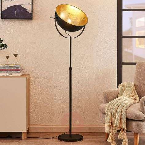 Floor lamp Muriel, 1-bulb, black/gold