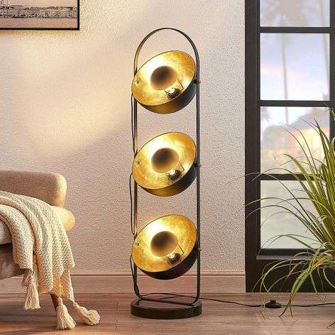 Floor lamp Muriel, 3-bulb, black/gold
