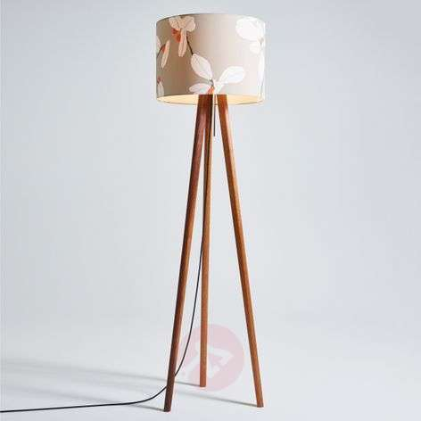 Floor lamp Sten Flower with a wooden tripod