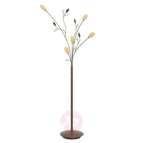Floral floor lamp Grosseto, brown