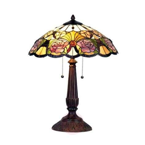 Floral table lamp Rose in the Tiffany style