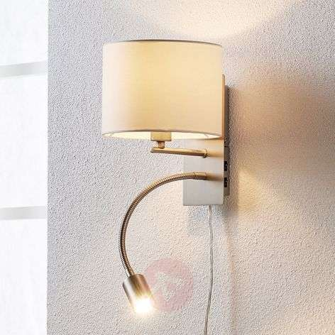 Florens - fabric wall lamp with LED reading lamp
