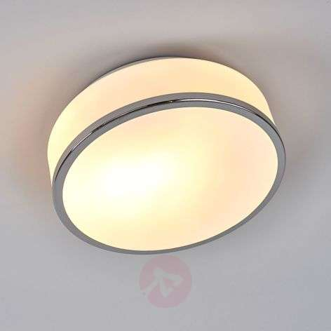 Flush ceiling light, satin-finished silver, IP44