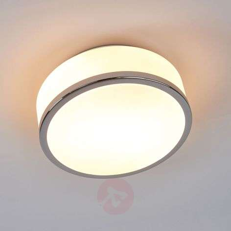 Flush elegant ceiling light, chrome, IP44, 23 cm