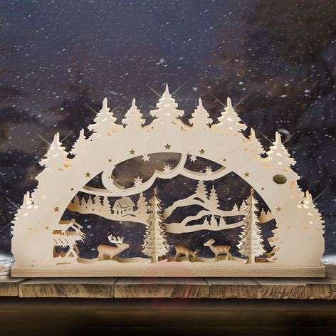 Forest 3D candle arch with carved figures