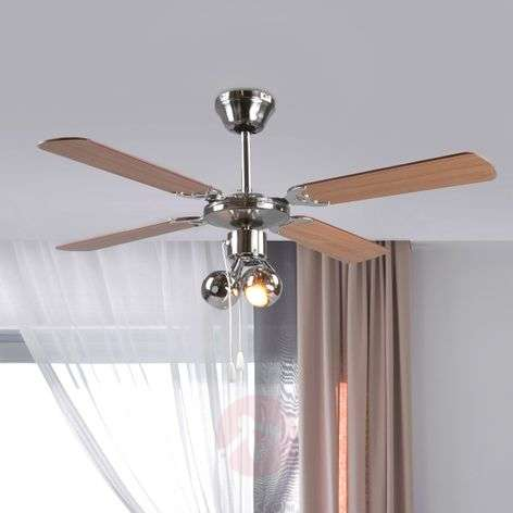 Four-blade ceiling fan Gunda, with light