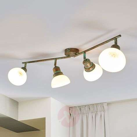Four-bulb ceiling light Olav with glass lampshades