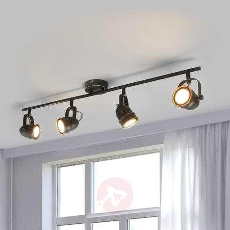 Four-bulb LED ceiling lamp Leonor, black-gold