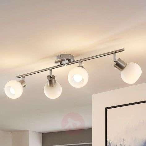 Four-bulb LED ceiling light Elaina, nickel matte