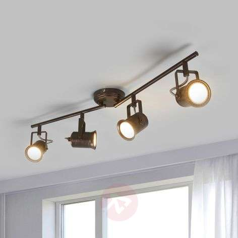 Four-bulb LED ceiling light, rustic style