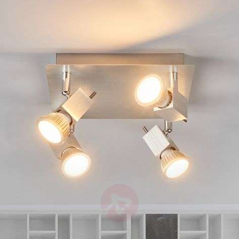 Four-bulb Sevina ceiling light, aluminium