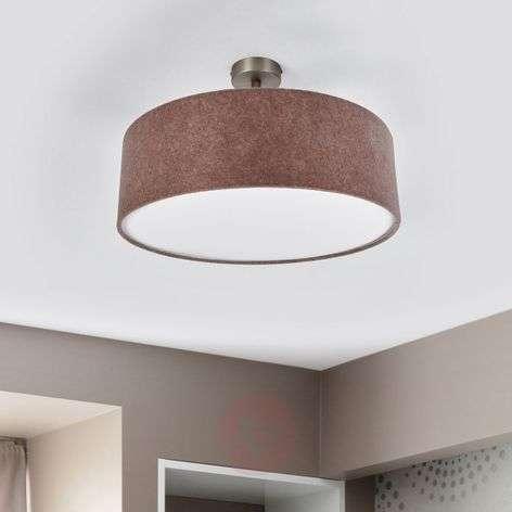 Gala - ceiling light made of beige brown felt