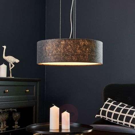 Gala pendant light, 50cm, dark grey felt shade