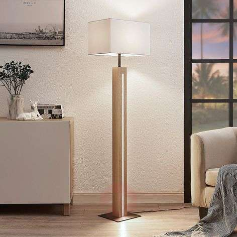 Garry fabric floor lamp with wooden frame, angular