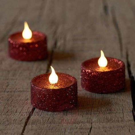 Gently flickering LED tea light Lone, 6, red