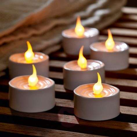 Gently flickering LED tea light Lone, set of 6