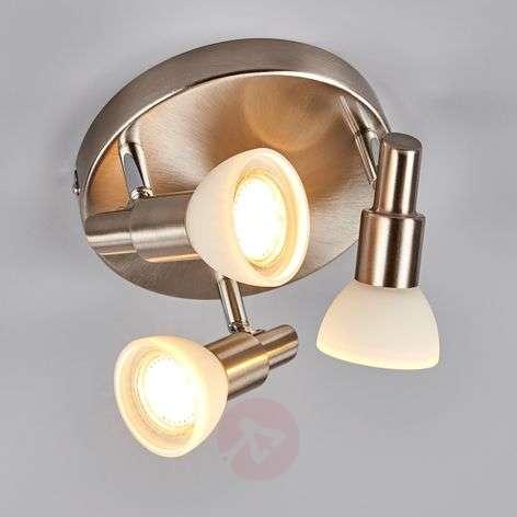 Glass & metal LED circular ceiling spotlight Fiona