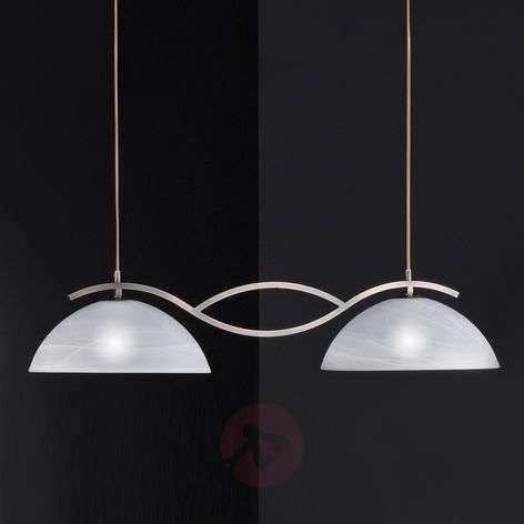 glass double pendant light Pastille, antique brass