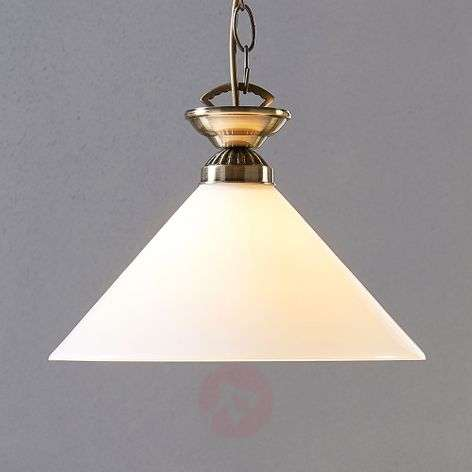 Glass pendant lamp Otis, antique brass