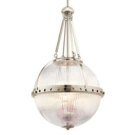 Glass pendant light Aster, spherical shape, nickel