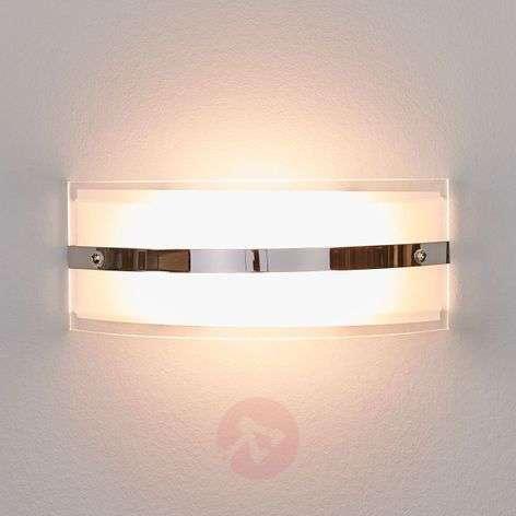 Glass wall lamp Lianda with LEDs, chrome-plated