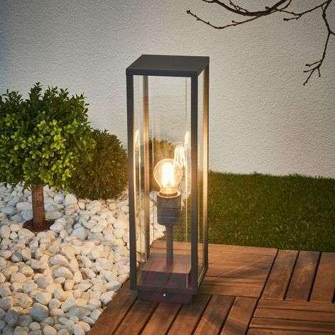 Glazed pillar lamp Annalea, graphite grey