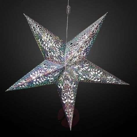 Glittering LED paper star, silver