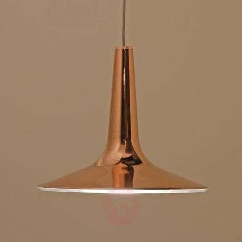Glossy copper-coloured LED hanging light Kin 30 cm
