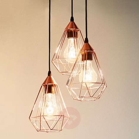 Glossy copper hanging light Tarbes - 3-bulb