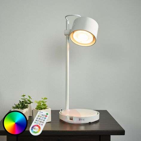 Glossy white LED iDual table lamp Jasmine