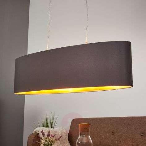 Gold-black fabric pendant light Lecio