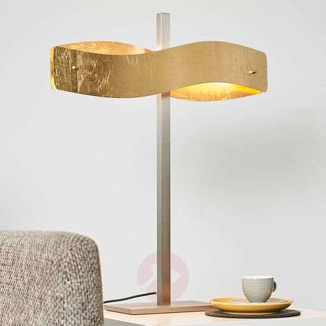 Gold-coloured Lian LED table lamp, touch dimmer
