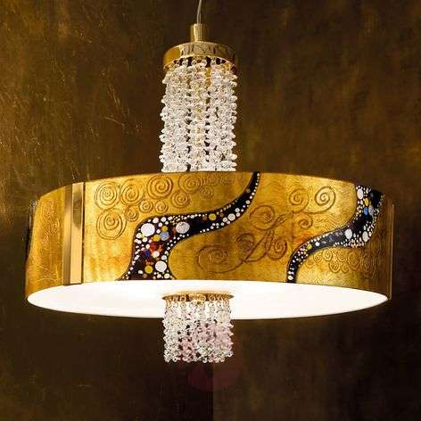Gold-plated crystal hanging light Emozione Kiss