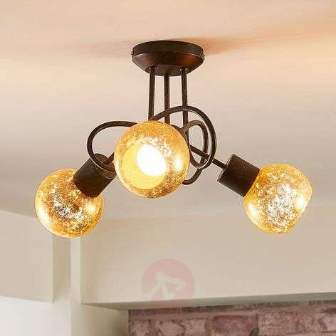 Gold tinted ceiling lamp Julien 3 glass lampshades