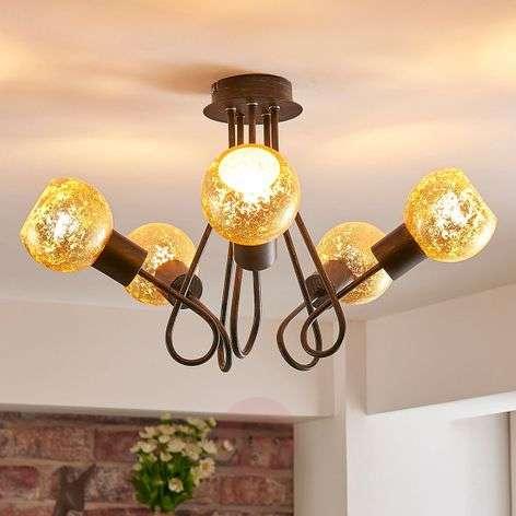 Golden ceiling lamp Julien, 5-bulb-9621301-32