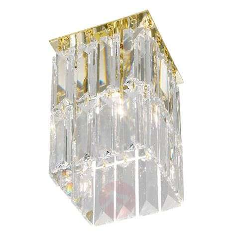 Golden crystal ceiling light PRISMA