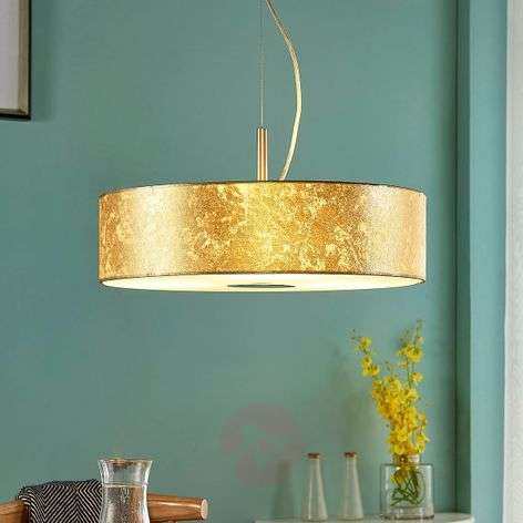 Golden fabric hanging light Regine, cylindrical