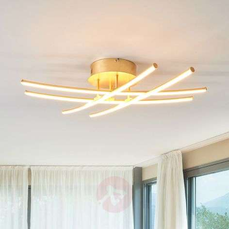 Golden LED ceiling light Yael with four rods