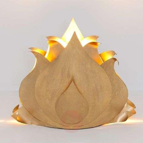 Golden table lamp Lotus Flower