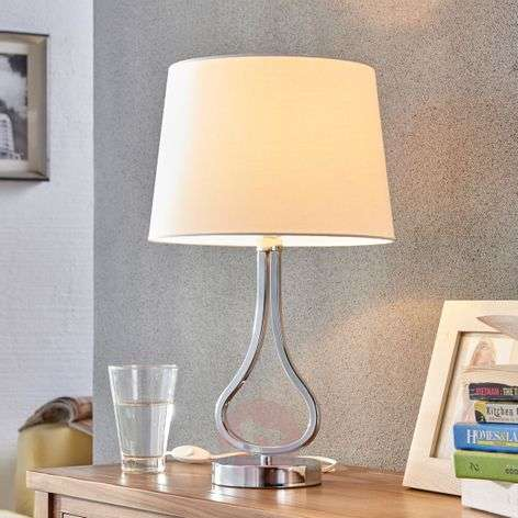 Great Joelyna table lamp with fabric lampshade