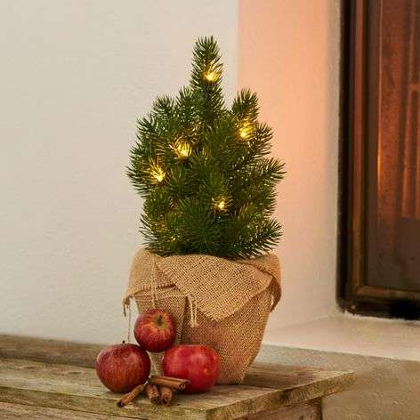 Green LED tree Tia in a jute bag - 35 cm high