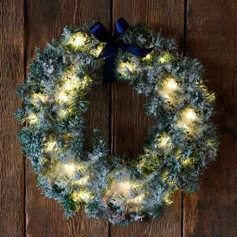 Green LED wreath Anton with timer-8577273-31