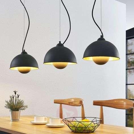 Gretja pendant light, 3-bulb, black and gold