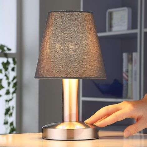 Grey bedside table lamp Hanno, fabric lampshade