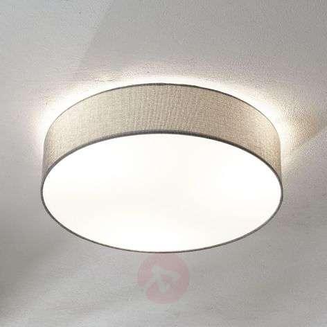 Grey ceiling lamp Pasteri, linen lampshade