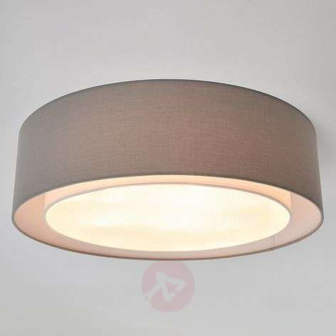 Grey fabric ceiling light Raka, round