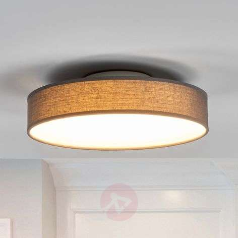 Grey fabric LED ceiling lamp Saira, 30 cm