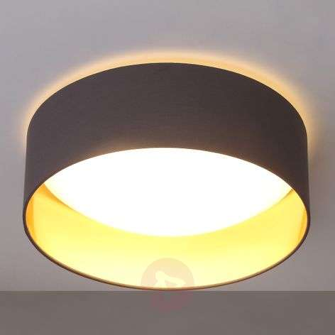 Grey LED ceiling lamp Coleen, gold inside